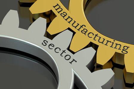 sector: Manufacturing Sector concept on the gearwheels, 3D rendering
