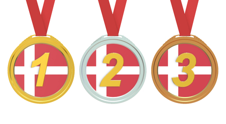 denmark flag: Gold, Silver and Bronze medals with Denmark flag, 3D rendering