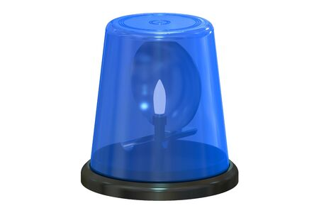 flashing: Blue flashing light, 3D rendering isolated on white background