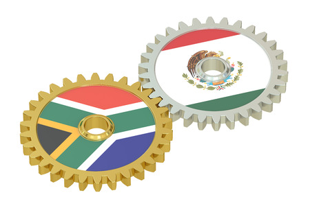 affairs: South Africa and Mexico relations concept, flags on a gears. 3D rendering isolated on white background