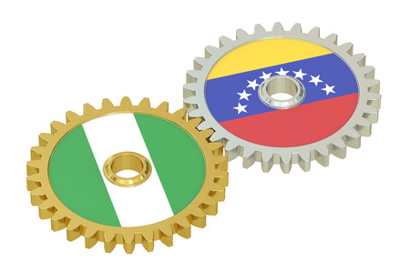 affairs: Nigeria and Venezuela relations concept, flags on a gears. 3D rendering isolated on white background