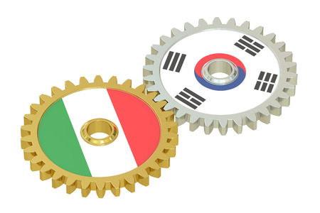 affairs: Italy and South Korea flags on a gears, 3D rendering isolated on white background