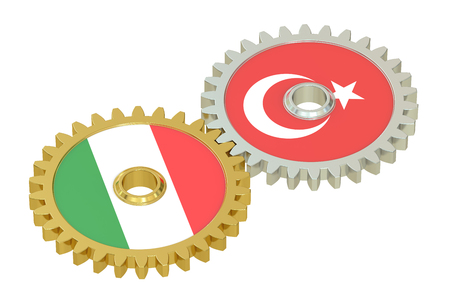 italian politics: Italy and Turkey flags on a gears, 3D rendering isolated on white background