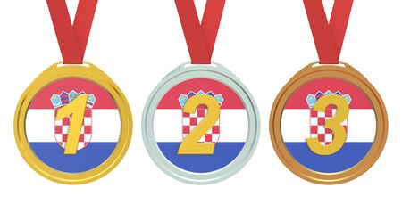 croatia flag: Gold, Silver and Bronze medals with Croatia flag, 3D rendering