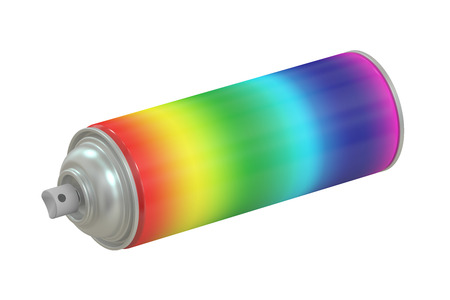 paint can: multicolored spray paint can, 3D rendering isolated on white background