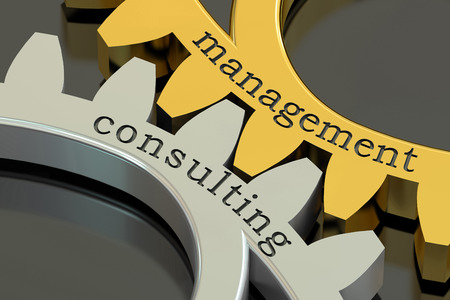 management concept: Management Consulting concept on the gearwheels, 3D rendering