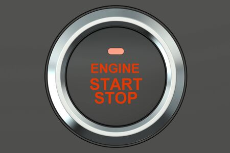 start button: Ignition start button closeup, 3D rendering isolated on white background