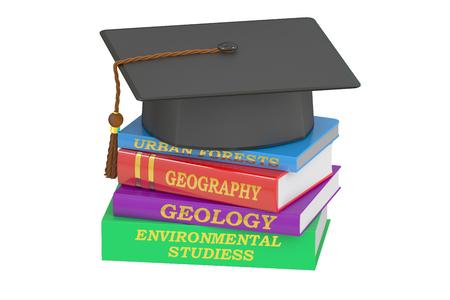 educacion ambiental: la educaci�n de estudios ambientales, representaci�n 3D aislada en el fondo blanco
