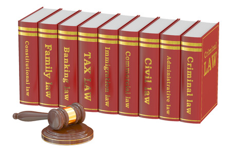 tax attorney: Wooden Gavel and Law Books, 3D rendering isolated on white background Stock Photo