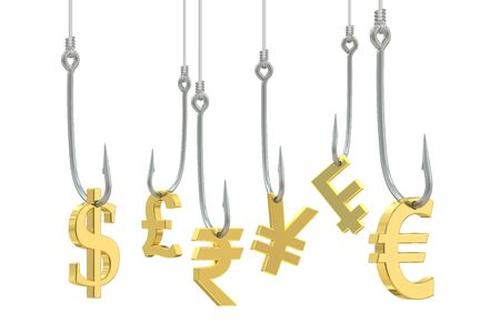 allurement: fishing hooks with symbols of dollar, euro, pound sterling, franc, yen and rupee, 3D rendering