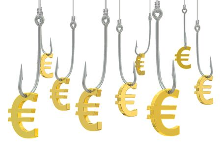 allurement: fishing hooks with symbol of euro, 3D rendering isolated on white background