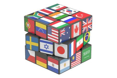 world flags: Cube with world flags, 3D rendering isolated on white background