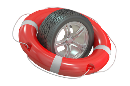 lifesaving: car wheel with lifebuoy, 3D rendering isolated on white background