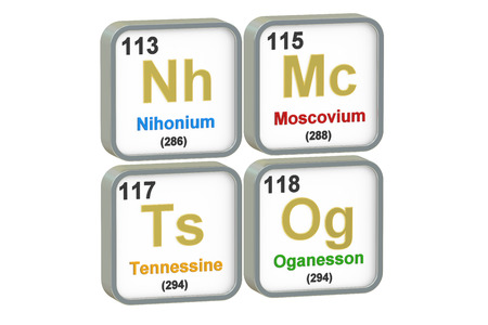 mendeleev: Nihonium, Moscovium, Tennessine, Oganesson chemical elements isolated on white background, 3D rendering Stock Photo