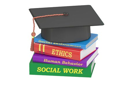 social work: Social work education, 3D rendering isolated on white background