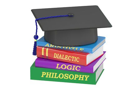 philosophy of logic: Philosophy education, 3D rendering isolated on white background