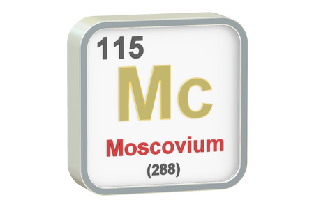 mc: Moscovium chemical element isolated on white background, 3D rendering Stock Photo