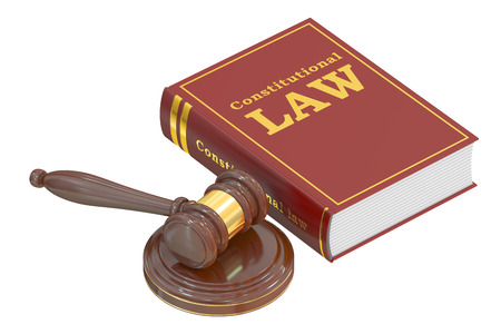constitutionally: Constitutional Law concept with gavel. 3D rendering