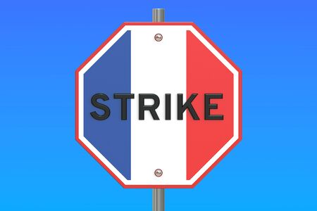 turnout: strike road sign with flag of France, 3D rendering isolated on blue sky