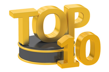 top 10: Top 10, 3D rendering isolated on white background