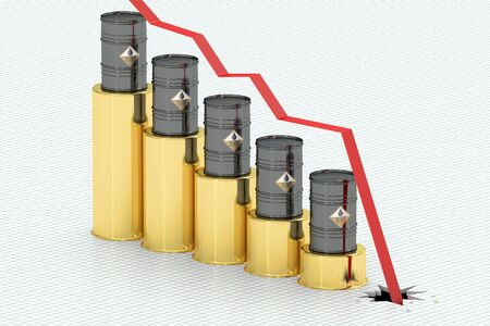 Oil price falling concept, 3D rendering