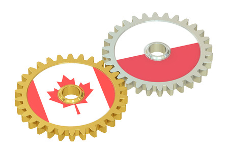 affairs: Canada and Poland flags on a gears, 3D rendering isolated on white background