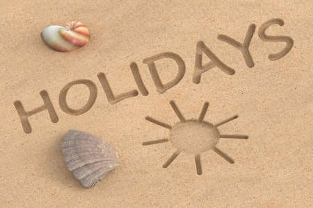 holidays: summer holidays, 3D rendering Stock Photo