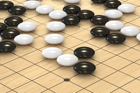conquest: Go game closeup, 3D rendering