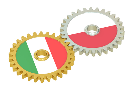 affairs: Italy and Poland flags on a gears, 3D rendering isolated on white background Stock Photo