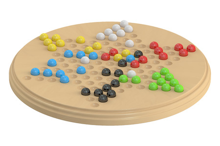 area of conflict: chinese checkers game, 3D rendering Stock Photo