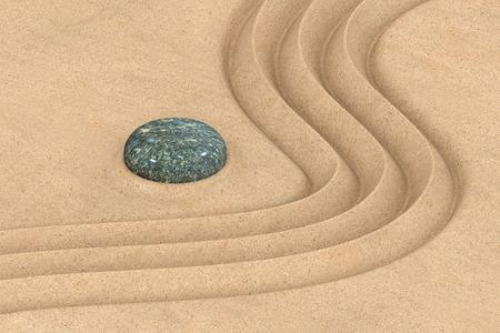 zen garden: Zen garden concept with a wave in the sand, 3D rendering