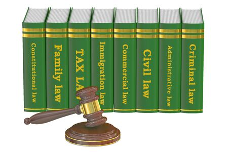 law books: Wooden Gavel and Law Books, 3D rendering isolated on white background Stock Photo