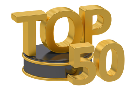 top 50 icon: Top 50, 3D rendering isolated on white background Stock Photo