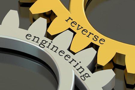 reverse: reverse engineering concept on the gearwheels, 3D rendering