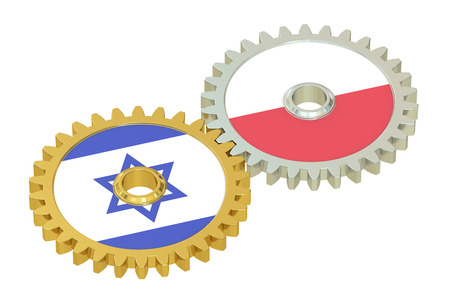 affairs: Israel and Poland flags on a gears, 3D rendering isolated on white background Stock Photo