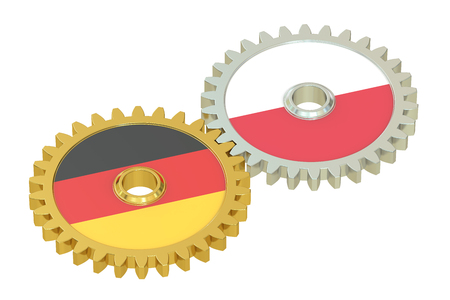 affairs: Germany and Poland flags on a gears, 3D rendering isolated on white background Stock Photo