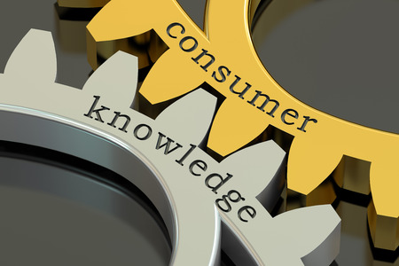 consumer: consumer knowledge concept on the gearwheels, 3D rendering