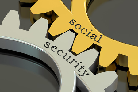 Social Security concept on the gearwheels, 3D rendering