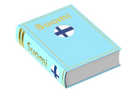 textbook: Finnish Suomi language textbook, 3D rendering isolated on white background