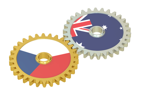 affairs: Czech Republic and Australia flags on a gears, 3D rendering isolated on white background