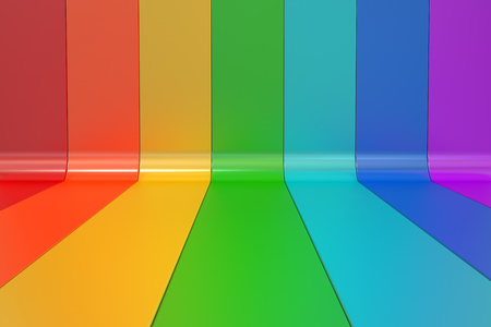 rainbow colors: Abstract rainbow colors lines background, 3D rendering