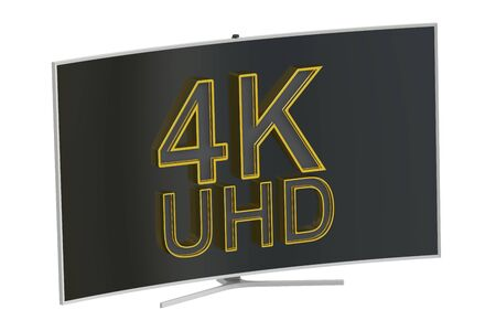 flat panel display: Curved 4K UltraHD TV, 3D rendering isolated on white background