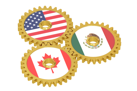 nafta: North American Union, NAU concept on a gears, 3D rendering