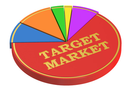 target market: Target Market concept with Pie Chart, 3D rendering isolated on white background