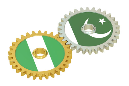 affairs: Nigeria and Pakistan flags on a gears, 3D rendering isolated on white background