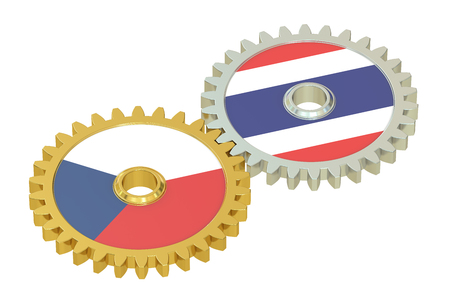 affairs: Czech Republic and Thailand flags on a gears, 3D rendering isolated on white background Stock Photo
