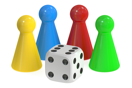 Board Game Pieces and Dice, 3D rendering isolated on white background