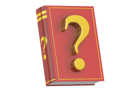 questionmark: Question Manual concept, book with question mark, 3D rendering