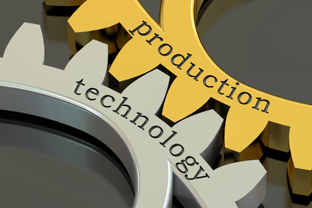 distribute: Production Technology concept on the gearwheels, 3D rendering Stock Photo