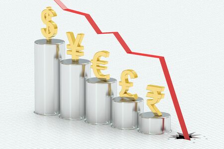 regress: Falling bar chart with symbols of currencies, 3D rendering Stock Photo